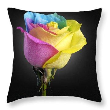 Rainbow Rose 1 Throw Pillow