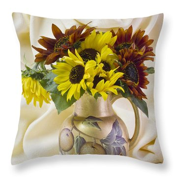 Multi Color Sunflowers Throw Pillow by Sandra Foster
