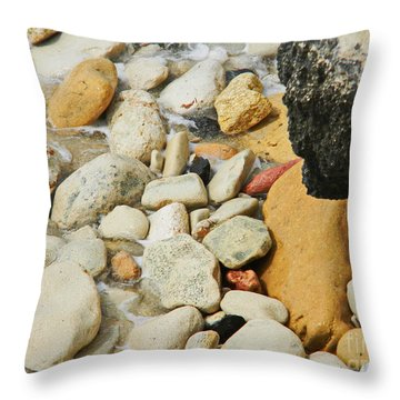 multi colored Beach rocks Throw Pillow by Expressionistart studio Priscilla Batzell