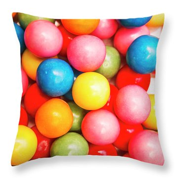 Multi Colored Gumballs. Sweets Background Throw Pillow