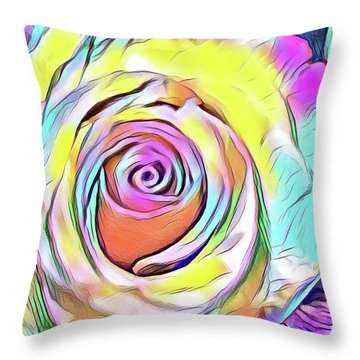 Multi-colored Rose Throw Pillow