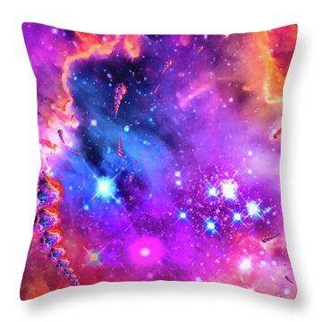 Multi Colored Space Chaos Throw Pillow by Matthias Hauser