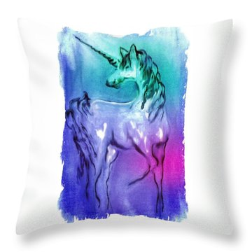 Multi Coloured Unicorn Throw Pillow by Carol Rowland