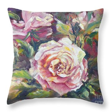 Multi-hue And Petal Rose. Throw Pillow