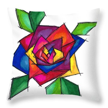 Multi Rose Throw Pillow