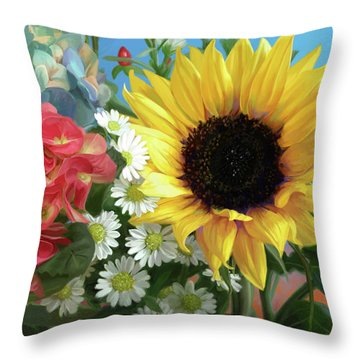 Multicolor Flowers Throw Pillow