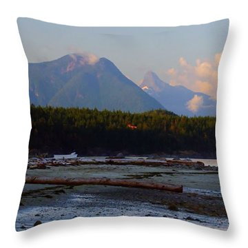 Multileval Photography In One Land Water Trees Mountain Clouds Skyview Olympic National Park America Throw Pillow