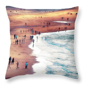 Throw Pillow featuring the photograph multiple exposure of people on North sea beach  by Ariadna De Raadt
