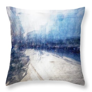 Throw Pillow featuring the photograph Multiple Exposure Of Shopping Street by Ariadna De Raadt