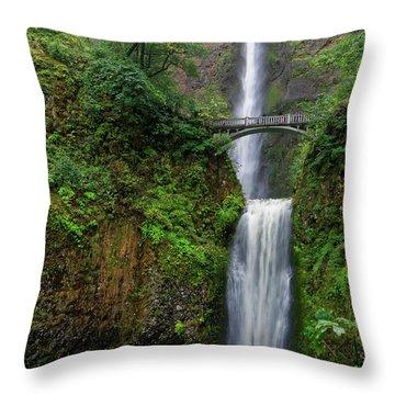 Throw Pillow featuring the photograph Multnoma Falls by Jonathan Davison