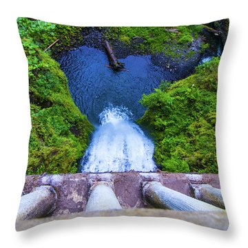 Throw Pillow featuring the photograph Multnomah Falls Bridge by Jonny D