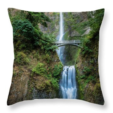 Multnomah Falls Throw Pillow by Chris McKenna