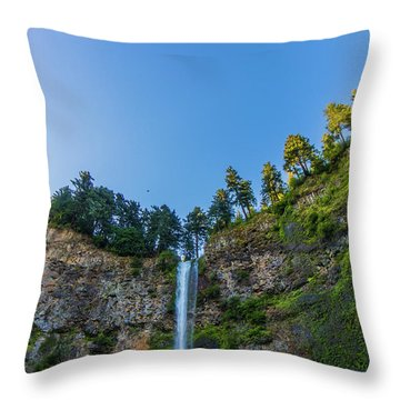 Throw Pillow featuring the photograph Multnomah Falls Cliff by Jonny D