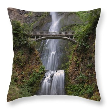 Multnomah Falls - Columbia River Gorge Throw Pillow by Sandra Bronstein