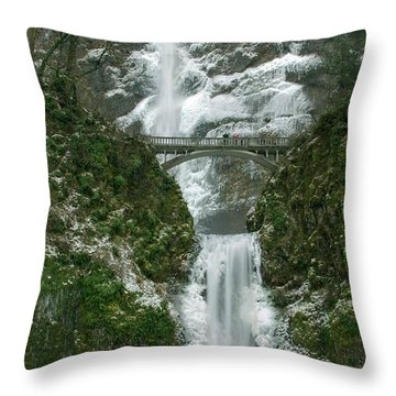 Multnomah Falls Ice Throw Pillow
