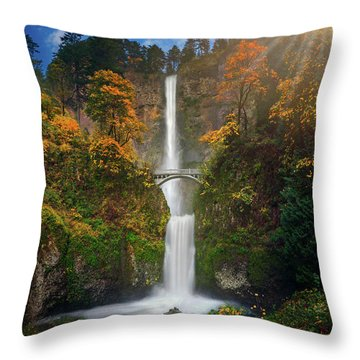 Multnomah Falls In Autumn Colors -panorama Throw Pillow by William Lee