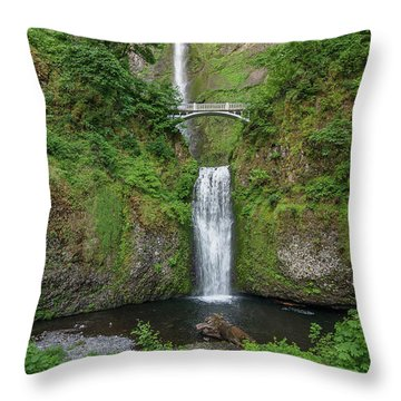 Multnomah Falls In Spring Throw Pillow by Greg Nyquist