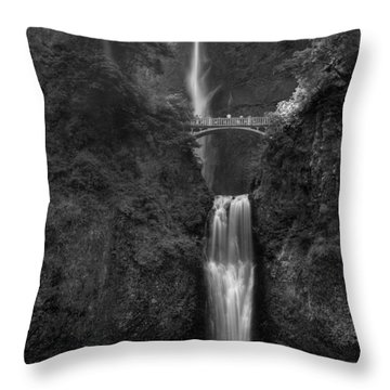 Multnomah Falls Throw Pillow by Sue Cullumber