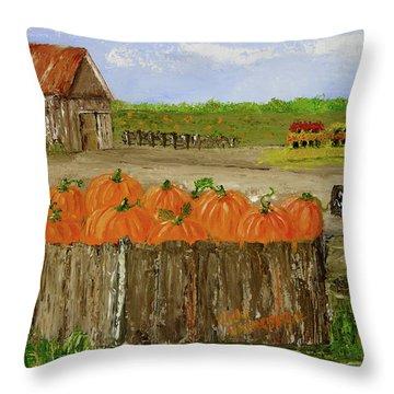 Mum And Pumpkin Harvest Throw Pillow