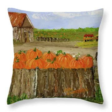 Mum And Pumpkin Harvest Throw Pillow