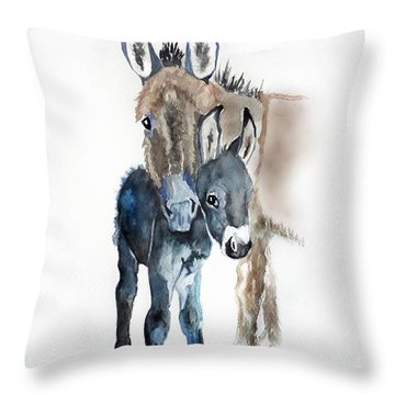 Mummy Donkey Throw Pillow