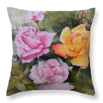 Mum's Roses Throw Pillow by Sandra Phryce-Jones
