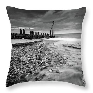 Throw Pillow featuring the photograph Mundesley Beach - Mono by James Billings