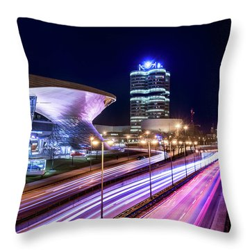 Throw Pillow featuring the pyrography Munich - Bmw City At Night by Hannes Cmarits