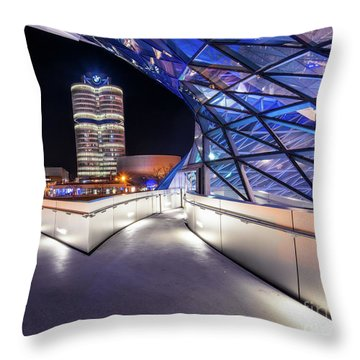 Throw Pillow featuring the pyrography Munich - Bwm Modern And Futuristic by Hannes Cmarits