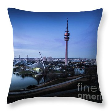 Throw Pillow featuring the photograph Munich - Watching The Sunset At The Olympiapark by Hannes Cmarits