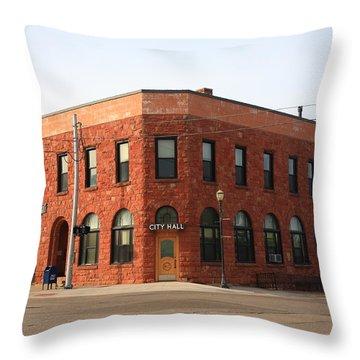 Munising Michigan City Hall Throw Pillow by Frank Romeo
