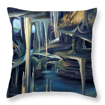 Throw Pillow featuring the painting Mural Ice Monks In November by Nancy Griswold