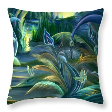 Throw Pillow featuring the painting Mural  Insects Of Enchanted Stream by Nancy Griswold
