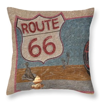 Mural On Historic Route 66 Throw Pillow