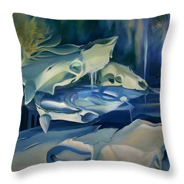 Throw Pillow featuring the painting Mural Skulls Of Lifes Past by Nancy Griswold