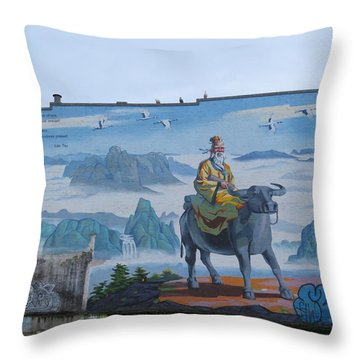 Mural In Chinatown Vancouver Throw Pillow