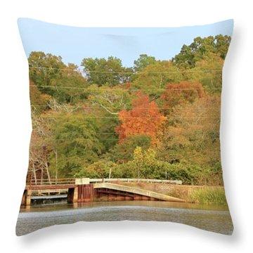 Murphy Mill Dam/bridge Throw Pillow by Jerry Battle