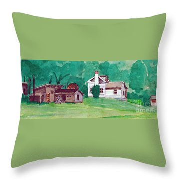 Murray Hill Watercolor Throw Pillow by Fred Jinkins
