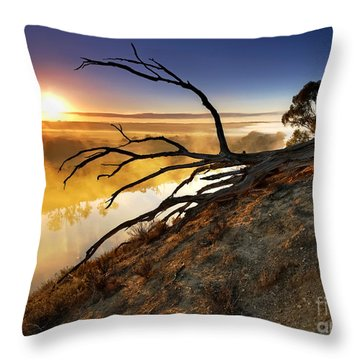 Murray River Sunrise Throw Pillow by Bill  Robinson