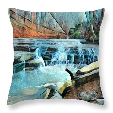 Muscatatuck Falls Touch Of Blue Abstract Throw Pillow