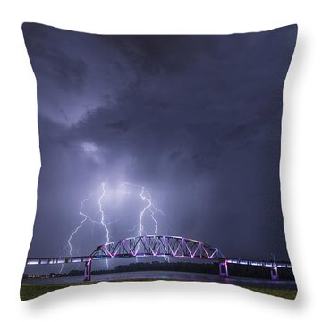 Muscatine Bridge Lightning Throw Pillow by Paul Brooks