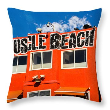 Muscle Beach Throw Pillow by Robert Hebert