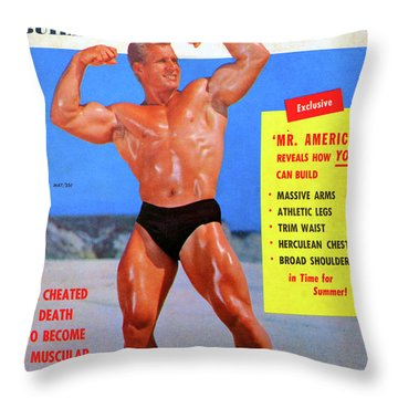 Muscle Builder Mag May 1956 Throw Pillow