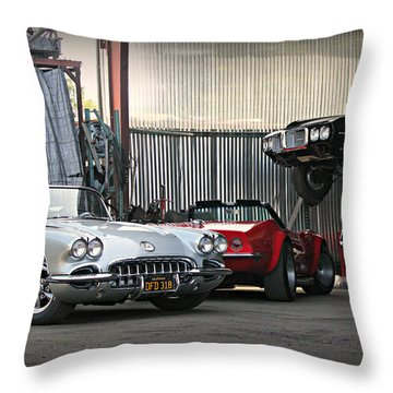Muscle In The Shop Throw Pillow