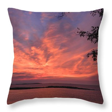 Muscongus Sound Sunrise Throw Pillow