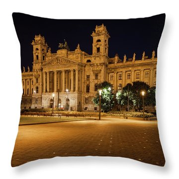Museum Of Ethnography In Budapest At Night Throw Pillow