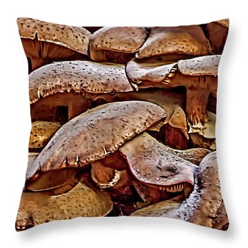 Mushroom Colony Throw Pillow