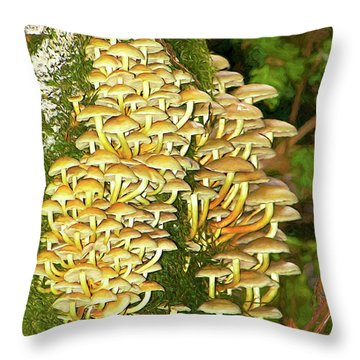 Throw Pillow featuring the photograph Mushroom Colony Photo Art by Sharon Talson