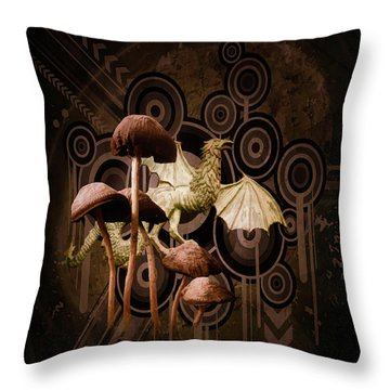 Mushroom Dragon Throw Pillow