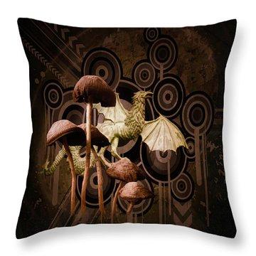 Throw Pillow featuring the digital art Mushroom Dragon by Richard Ricci